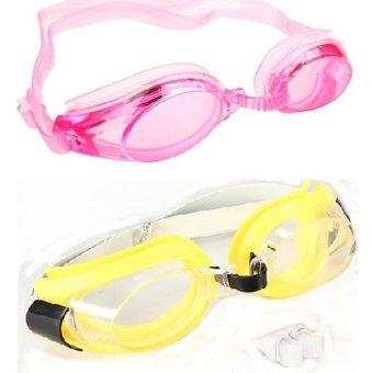Bộ 2 kính bơi trẻ em Silicon+ bịt tai BeBe mart(Xanh+hồng)