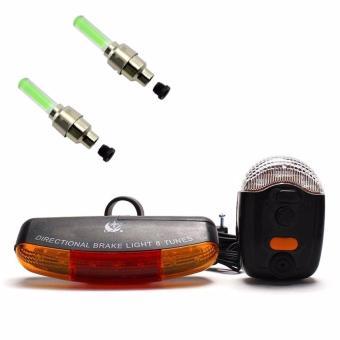 Bộ còi và đèn tín hiệu xe đạp XC-408 và 2 đèn Led gắn van xe (xanh lá)