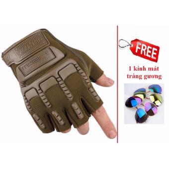 Găng tay nam hở ngón thể thao (Xanh rêu) + Tặng 1 kính mát tráng gương