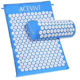 Cyber ACEVIVI Acupressure Mat Relieve Stress Pain Acupuncture Spike Yoga Mat with Pillow (Blue) - Intl