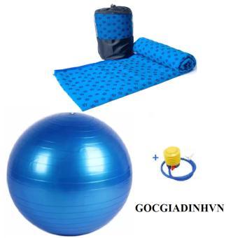 Bộ khăn trải tập yoga có túi+ Bóng tập trơn kèm bơm tay GocgiadinhVN-Xanh