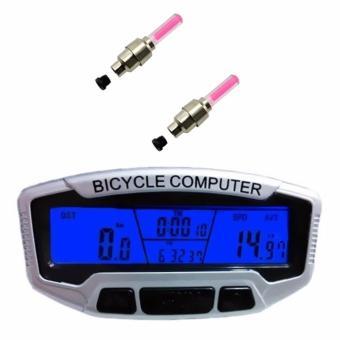 Đồng hồ tốc độ xe đạp SunDing SD-558A và 2 đèn Led gắn van xe (Hồng)