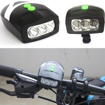 Đèn Pin LED trên xe đạp kèm đế kẹp White L.E.D Horn Flash H101 (Đen).