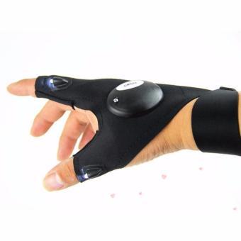 Găng tay câu cá đêm hở ngón có đèn LED tiện dụng