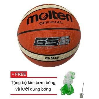 Quả bóng rổ Molten (Nhật Bản) GS6 cao su 2 + Tặng bộ kim bơm bóng và lưới đựng bóng