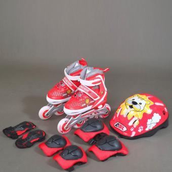 Bộ giầy Patin Inline Skate ASL 6003 (trắng đỏ) 32/35