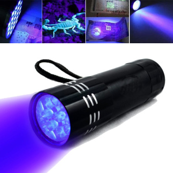 Black Mini Aluminum UV ULTRA VIOLET 9 FLASHLIGHT Torch Light Lamp