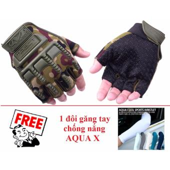 Găng tay nam hở ngón họa tiết lính (Camo) + Tặng 1 đôi găng tay chống nắng AQUA X (màu ngẫu nhiên)