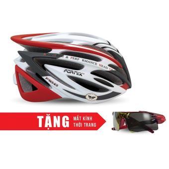 Nón bảo hộ cho người đi xe đạp FORNIX A02N024 (Xám đỏ) + Tặng Mắt kính thời trang
