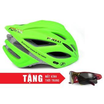 Nón bảo hộ cho người đi xe đạp FORNIX A02NX1 (Xanh lá) + Tặng Mắt kính thời trang