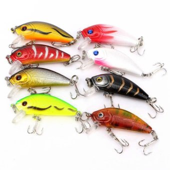 Plastic Fishing Crank Baits Lures Set of 8 (Multicolor) - Intl