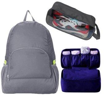 Bộ sản phẩm Ba lô du lịch + Túi đựng đồ lót + Túi đựng giày du lịch (Xám)