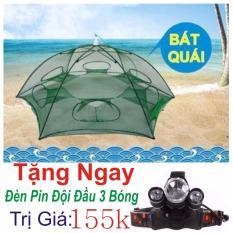 Lưới Đánh Bắt Cá Bát Quái- 8 Cửa Loại1 + Tặng ngay đèn  Pin Đội Đầu 3 Bóng Trị Giá 155k