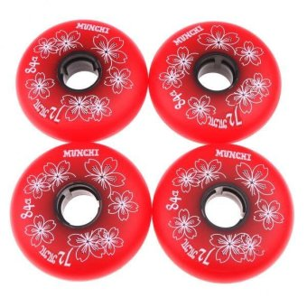 MagiDeal 4 Pieces Inline Roller Hockey Fitness Skate Replacement Wheel 84A 72mm Red - intl