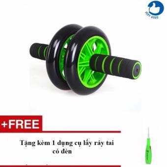 Máy tập cơ bụng bánh xe + Tặng kèm 1 dụng cụ lấy ráy tai có đèn
