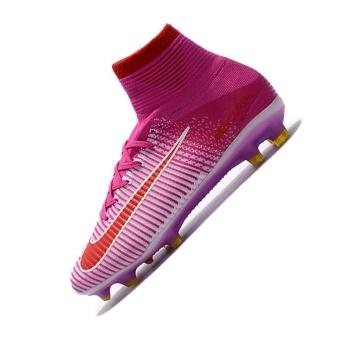 Mens Football Boots Women High Top Soccer Sneakers MercurialSuperfly V FG White pink - intl