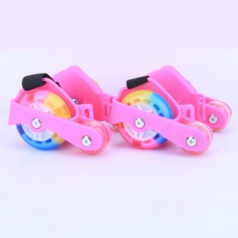Newly Colorful PU 4 Wheel Flashing Roller Skates(Black) - intl