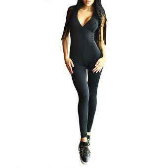 port i Bagcke V Neck Cro Bagndage Jupsuit Yoga Bodysuit - intl