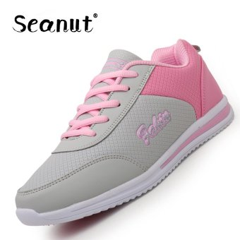 Seanut Woman Breathable Casual Shoes Sports Shoes (Grey/Pink) -intl