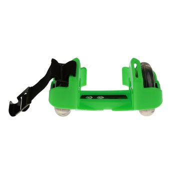 Sporting Pulley Heel Roller Skate Lighted Flashing Roller Skates+Free Protective Gear Sets(Green) - intl