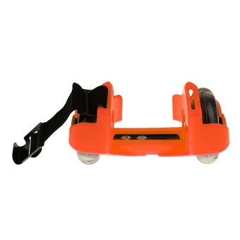 Sporting Pulley Heel Roller Skate Lighted Flashing Roller Skates+Free Protective Gear Sets(Orange) - intl