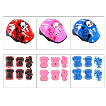 Sports Outdoors Skates Parts 7Pcs Kid Safety Set Helmet Protective Gear Elbow Wrist Knee Pads For Skateboard Roller Skating Cycling Sport (Red) - intl