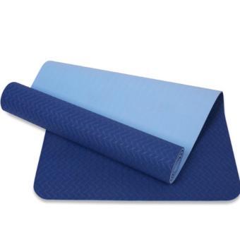 Thảm tập yoga 8mm 2 lớp TPE cao cấp (Xanh dương)