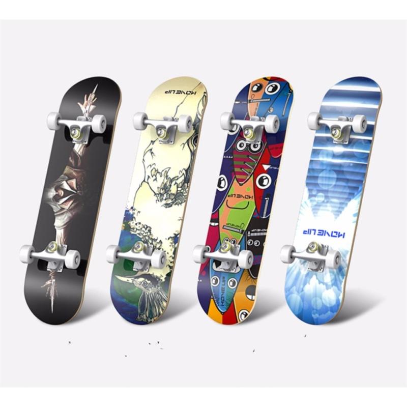 Ván trượt Skateboard cao cấp 2017 (Mặt ván nhám + Bánh cao su dẻo)