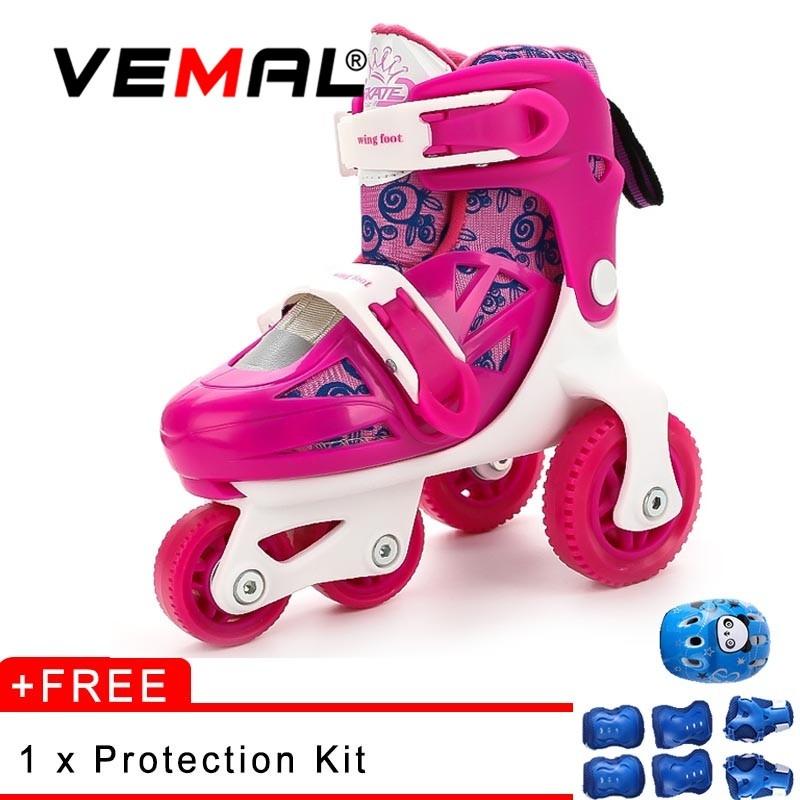 Phân phối VEMAL Children Inline Cruiser Skate 4 Wheels Double Roller Skate Shoes Street Park - intl