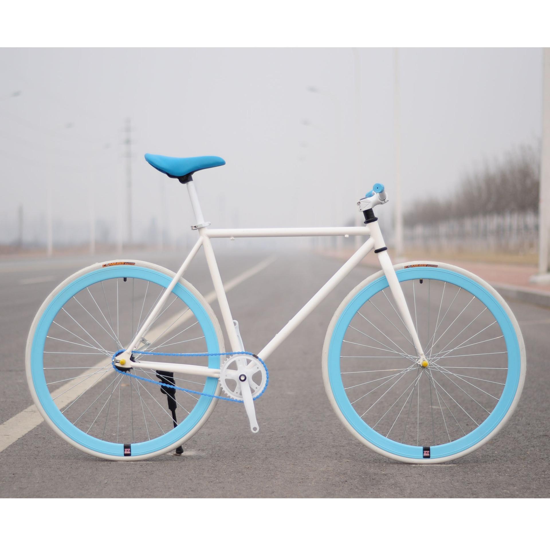 Xe đạp Fixed Gear Single Speed (Trắng vành xanh trời)