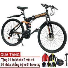 Xe đạp gấp địa hình AfterWard (đen) + Tặng 01 áo khoác 2 mặt, 01 khóa chống trộm và bơm xe