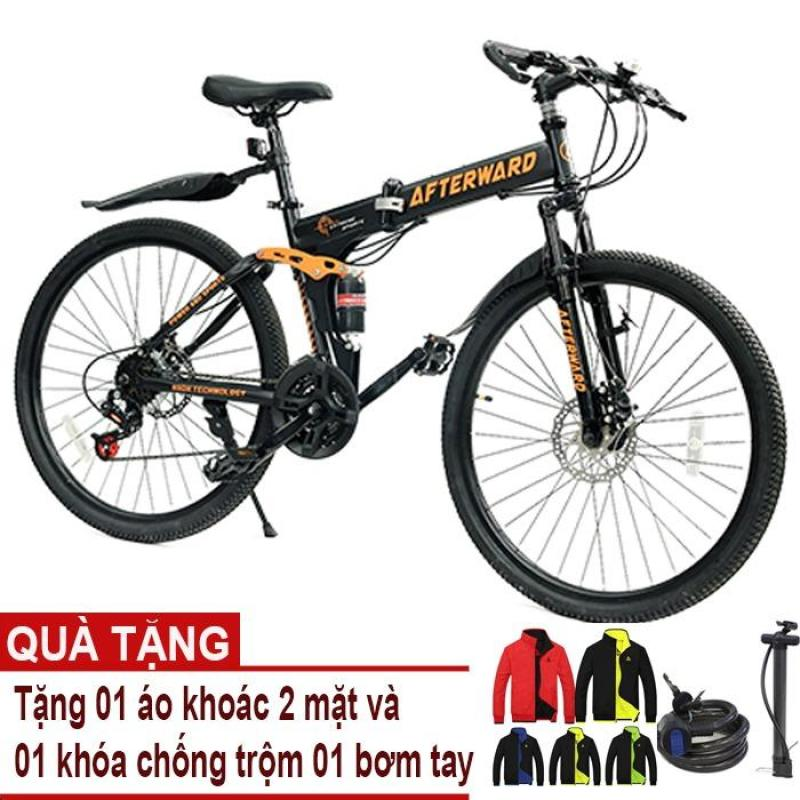 Phân phối Xe đạp gấp địa hình AfterWard (đen) + Tặng 01 áo khoác 2 mặt,