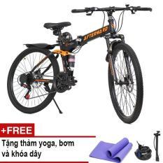 Xe đạp gấp địa hình AfterWard (đen) + Tặng thảm tập Yoga, 01 khóa chống trộm và bơm xe