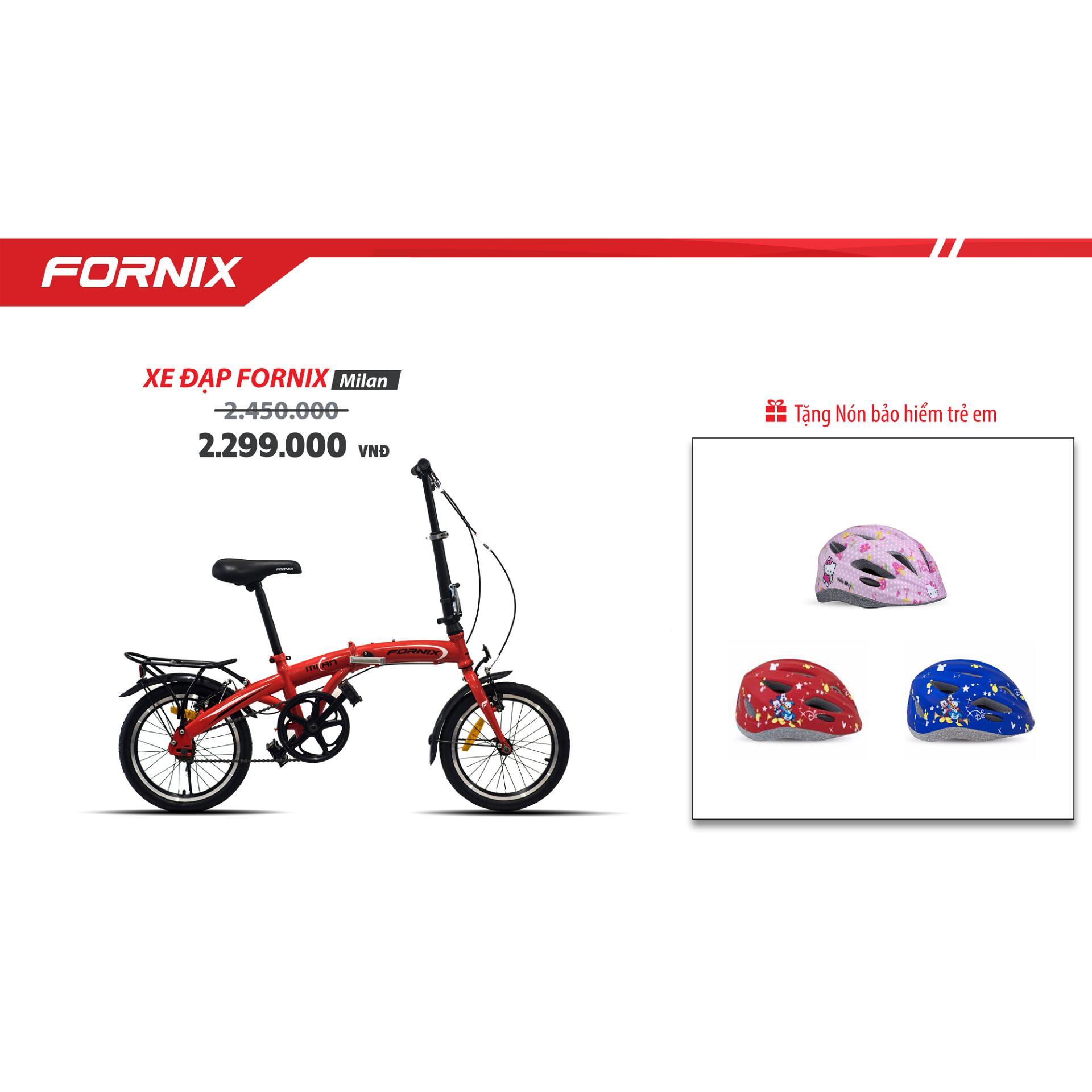Xe đạp gấp trẻ em hiệu FORNIX, mã MILAN  (Đỏ )+ tặng nón bảo hiểm trẻ em A03NM13S ( đỏ chuột mickey)