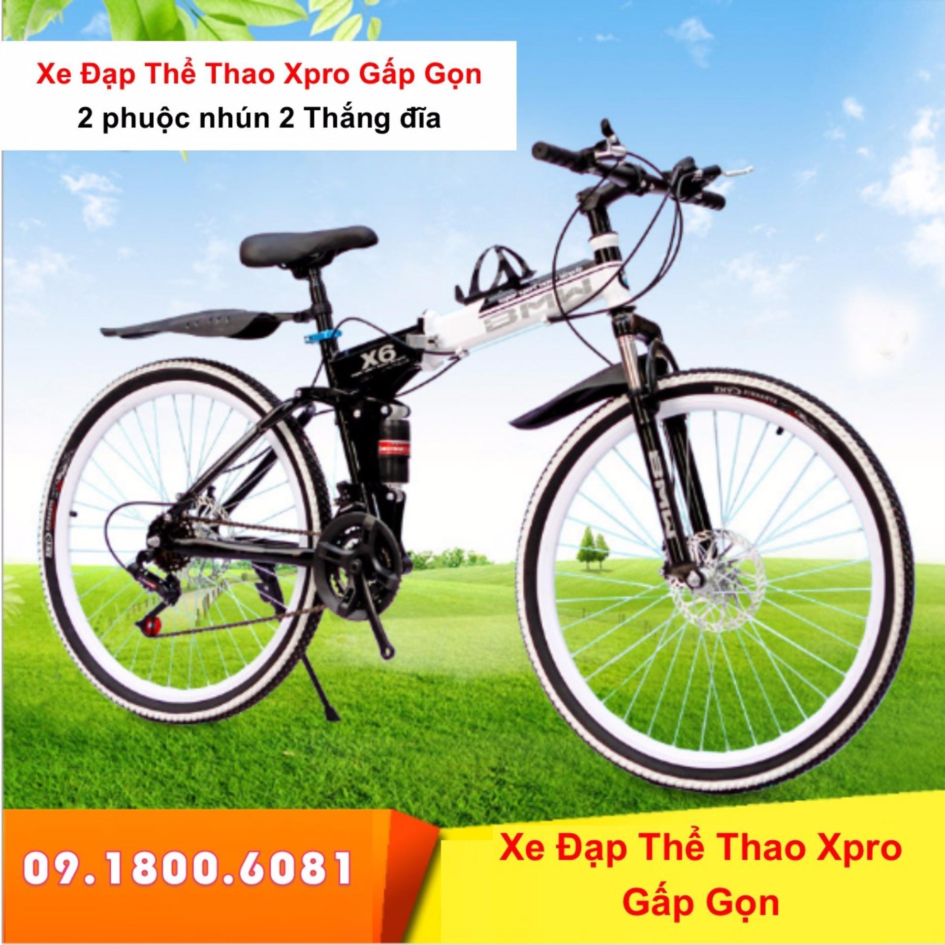 Xe đạp thể thao gấp gọn cao cấp 2 phuộc nhún hàng nhập khẩu