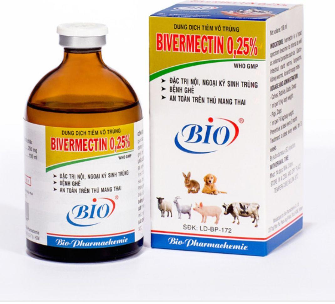Bivermectin 0,25% 100ml nội, ngoại ký sinh trùng hsd 26/01/2023