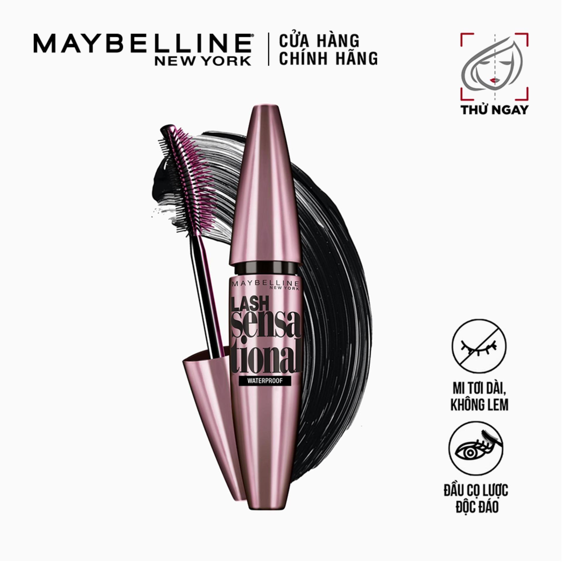 Mascara Dài Mi & Tơi Mi Tự Nhiên Maybelline New York Lash Sensational Waterproof Chuốt Mi Không Lem Không Trôi
