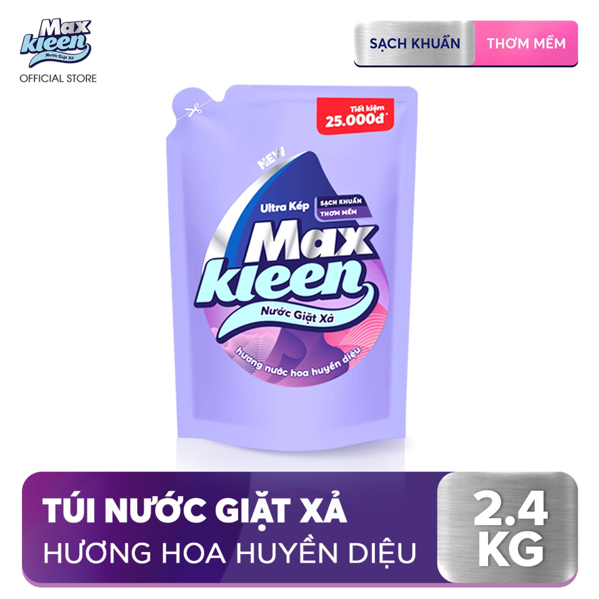 Túi Nước Giặt Xả Maxkleen Hương Nước Hoa Huyền Diệu (2.4kg)