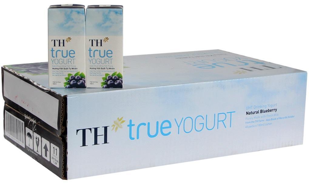 Thùng 48 hộp sữa chua TH True Yogurt Việt quất 180ml