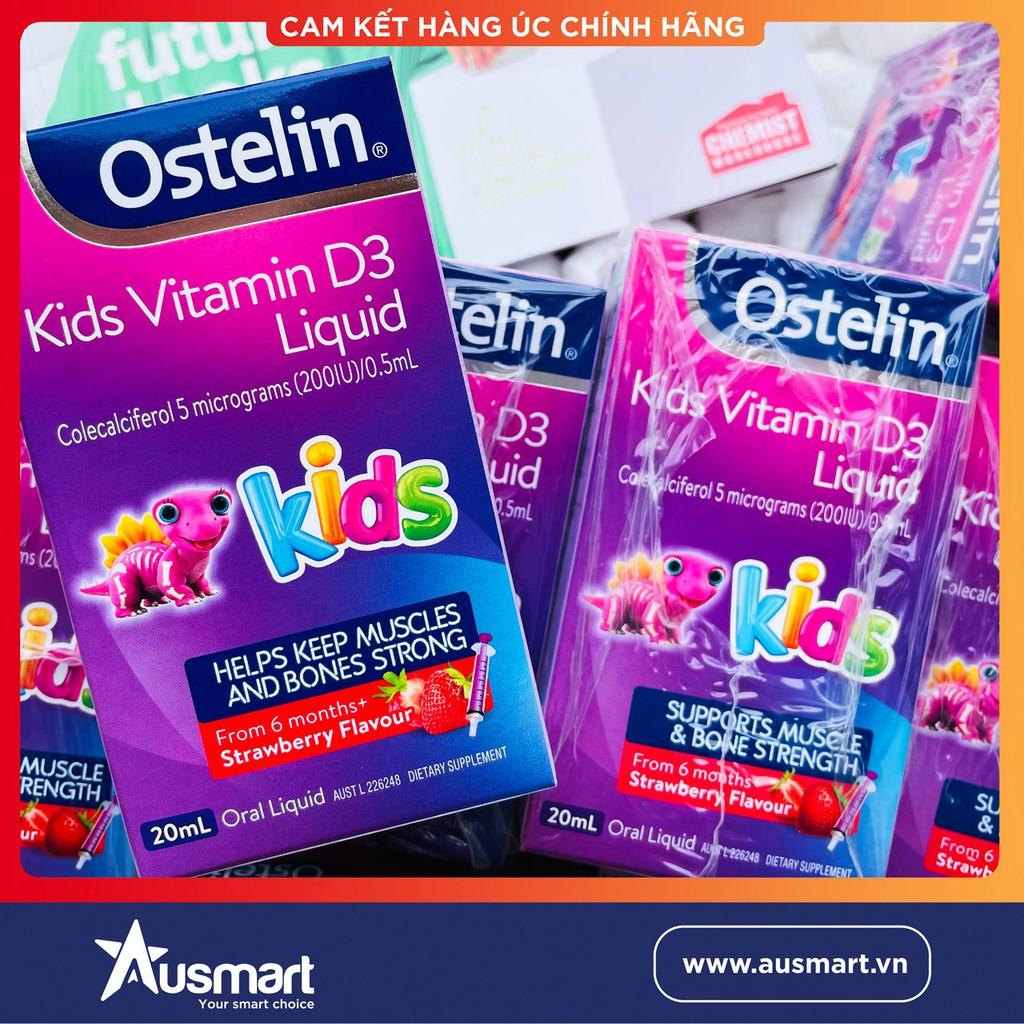 [Chính Hãng] Vitamin D3 ÚC - Vitamin D Dạng Nước Cho Trẻ Ostelin Kids Vitamin D3 Liquid 20ml Cho Bé Sơ Sinh Chống Còi