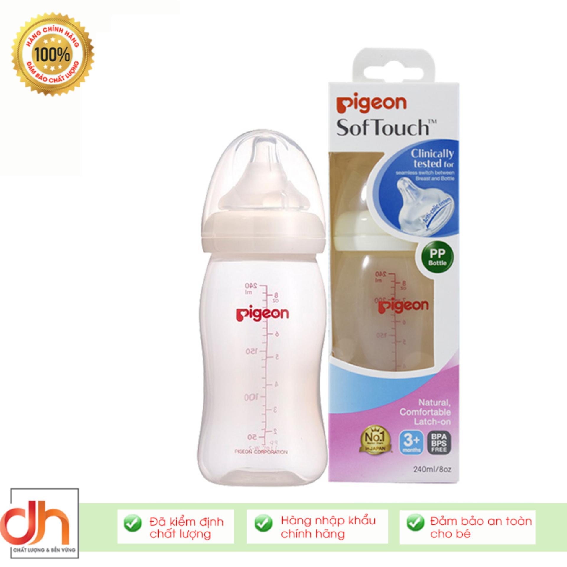 Bình sữa PP Plus cổ rộng Pigeon Nhật Bản 240ML (BS22076)
