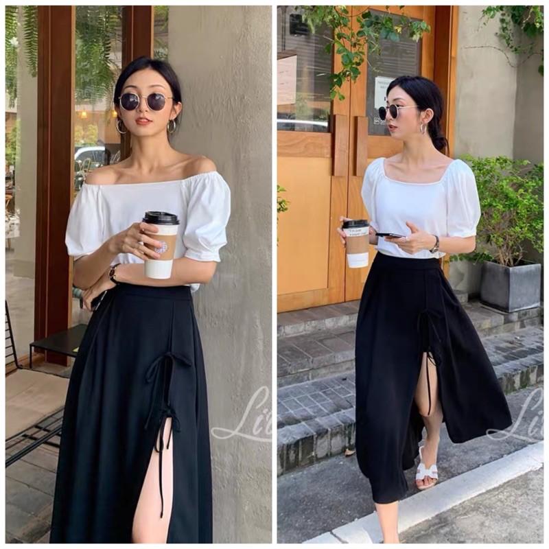 Chân váy đen xẻ tà cá tính _ chân váy dài midi đen xoè cá tính phong cách bohee sản phẩm thiết kế của LIOLA