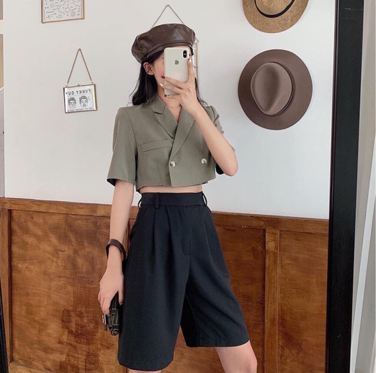 Set đồ bộ áo somi dáng ngắn croptop quần lửng ống rộng đẹp giá rẻ teen hotgirl trẻ trung cá tính dạo phố nữ sinh