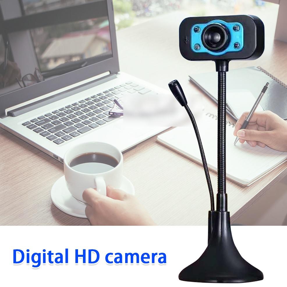 (Bảo hành 06 tháng) Webcam Chân Cao có mic dùng cho máy tính có tích hợp mic và đèn Led trợ sáng - Webcam máy tính để bàn siêu nét 2