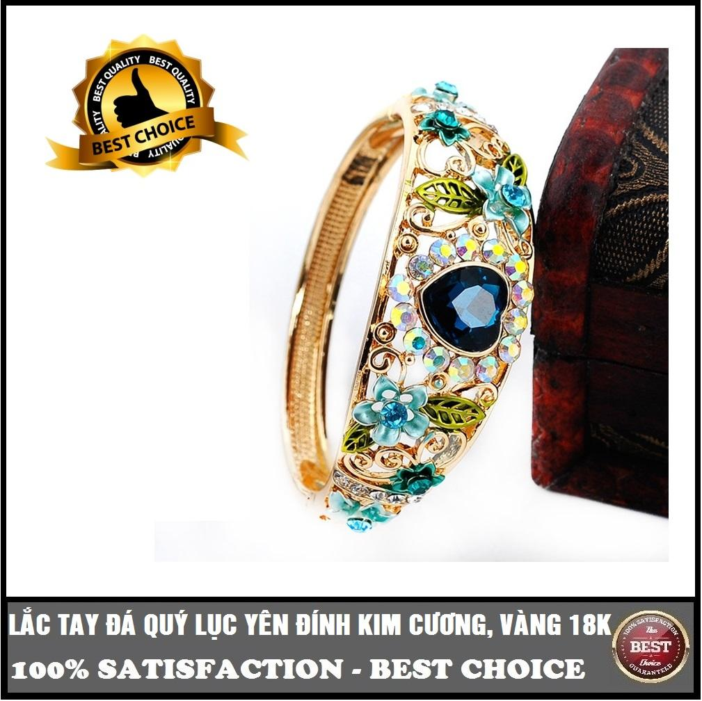 Lắc tay vàng gắn đá quý Lục Yên trái tim, vàng 24k không phai, đính kim cương, mix hoa lá cao cấp