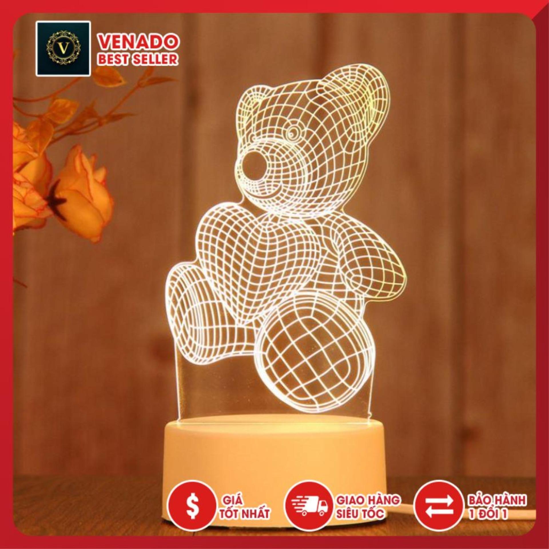 Đèn ngủ Mica led 3D hình Gấu Ôm Trái Tim, đèn trang trí để bàn, đèn thông minh mica 3d cực đẹp quà tặng độc đáo cho bạn bè và người thân
