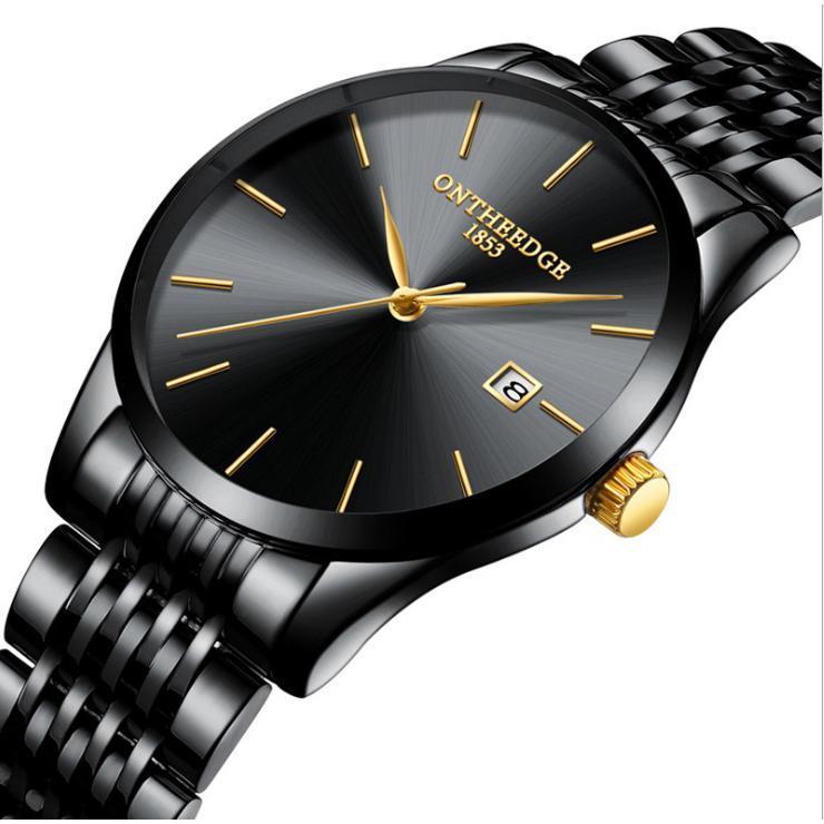 Đồng hồ nam doanh nhân dây đúc đặc Ontheedge DHR023 có lịch ngày (Full đen kim vàng)