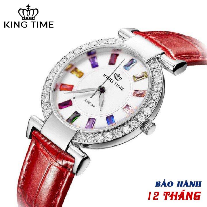 Đồng hồ nữ KING TIME Đính Đá Ruby Cầu Vòng, Mặt to nổi bật, Chống nước sinh hoạt 1