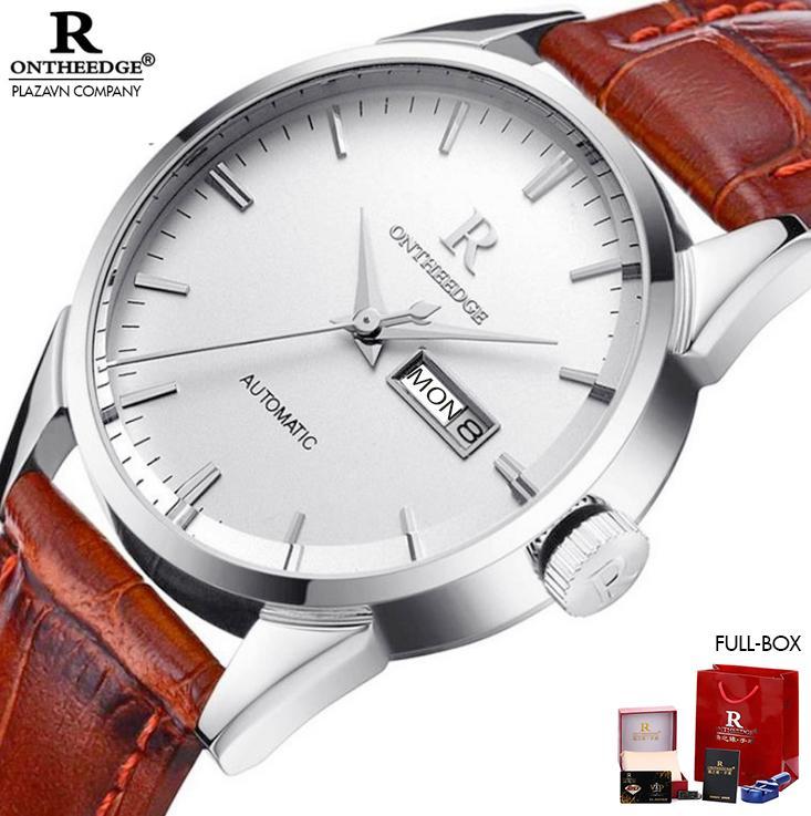 Đồng hồ thời trang nam R-ON THE EDGE dây da cao cấp mặt kính dày chống nước chống xước chống va đập