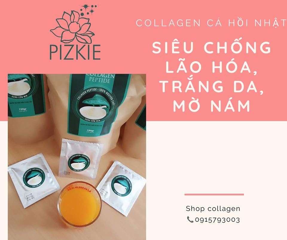 Collagen cá hồi Nhật Pizkie - mờ nám tàn nhang , phục hồi da hư tổn sau mụn, siêu chống lão hóa, giảm rụng tóc, giảm khô khớp và
